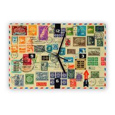 Israeli Old Stamps Clock - ofek wertman jewish gifts & Israeli Gifts Old Stamps, Jewish History, Jewish Gifts, Pop Art, Clock, Studio, Wall, How To Make, Handmade