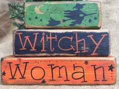 Primitive Country Witch on Broom Witch Witchy Woman Shelf Sitter Wood Block Set #PrimitiveCountry