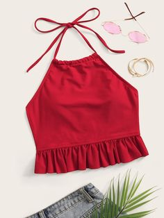 To find out about the Ruffle Trim Halter Swimming Top at SHEIN, part of our latest Bikini Tops ready to shop online today! Crop Top Outfits, Cute Casual Outfits, Pretty Outfits, Teen Fashion Outfits, Mode Outfits, Fashion Clothes, Fashion Sewing, Diy Fashion, Ideias Fashion