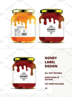 Honey Label Design Template Very organised and named layers, fully editable. Honey Packaging, Tea Packaging, Food Packaging Design, Bottle Packaging, Bottle Mockup, Honey Label, Honey Jar Labels, Honey Jars, Honey Bottles