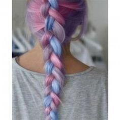 badass braid plait fishtail pastel pink purple white ombre three colors peach