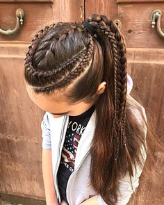 Combo of lace braids and a French braid back into a high rockstar ponytail - Hairstyles For All Cornrow Hairstyles White, Cool Braid Hairstyles, Little Girl Hairstyles, Female Hairstyles, French Braided Hairstyles, Dreadlock Hairstyles, Wedding Hairstyles, Fancy Ponytail, Braided Ponytail