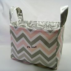 PK Fabric Basket in Pink and Grey Pearl Chevron  Ready by PKStuff, $14.50