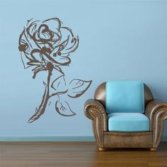 rvz2792 Wall Decal Decal Sticker Flowers Rose Roses Bucket Love Heart Sketch Gift