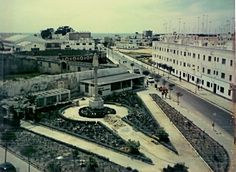 Plaza outside Naval Base gate in Rota Spain circa 1966-67. (Plaza del Triunfo con la Plaza de Toros cuadrada y la redonda en 1966.)