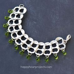 Soda Pop Tab Recycled Bracelet Tutorial at www.happyhourprojects.com