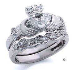 claddagh ring (Irish wedding rings) wedding band and engagement ring for Phipps Irish Wedding Rings, Engagement Wedding Ring Sets, Wedding Sets, Dream Wedding, Perfect Wedding, Wedding Stuff, Wedding Bands, Wedding Dreams, Wedding Venues