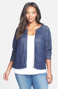 Eileen Fisher Jewel Neck Short Sweater Jacket (Plus Size) available at #Nordstrom