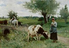 Titre de l'image : Edouard Debat-Ponsan - La vache bien gardee (Die gut gehuetete Kuh)