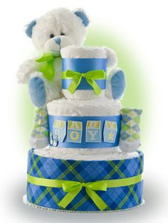 Our Baby Boy diaper cake is a great selection to welcome the new baby boy home. Only $67.00
