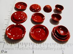 miniature plates bowls food kitchenware doll house red spatterware
