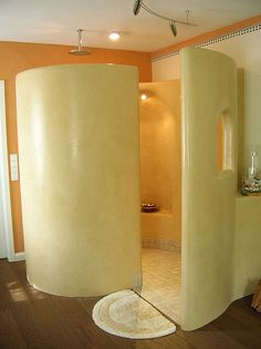 Tadelakt shower, I like the shape, but would want a different color and underfloor heating.