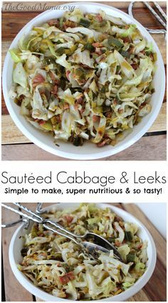 Sautéed Cabbage and Leeks Sauteed Cabbage and Leeks Recipe Leek Recipes, Cabbage Recipes, Side Dish Recipes, Vegetable Recipes, Vegetarian Recipes, Healthy Recipes, Bread Recipes, Clean Eating, Healthy Eating
