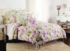 CYNTHIA ROWLEY Pink Purple Green Floral 3pc F/Q Quilt SET Country Stripe Flowers #CynthiaRowley #Country