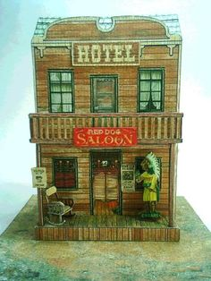 Red Dog Saloon - by Papermau - Here the infamous Red Dog Saloon. The legend says that more people have lost their souls in this antrum of sinners than in hell. download this original and exclusive paper model only at Papermau!