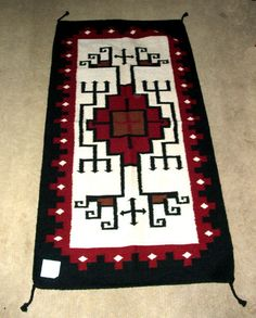 """A quality woven wool rug! 32x64"""" with tassled corners.Heavyweight & durable. Design is patterned after the Navajo weaving's of the SW. $79.95 #rug #throwrug #tapestry #homedecor #southwestern."""