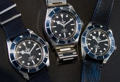 """2014 TUDOR Heritage Black Bay """"Blue"""" 79220B Watch Hands-On - by James Stacey - We've added gorgeous new original photos - see them and read more on aBlogtoWatch """"The midnight blue coloring is completed by a matched crown tube that is also a dark shade of blue. In the light of the restaurant where we shot these live photos, I had initially accepted that the bezel was black and it was not until more light was applied that we could easily see the cool blue tone..."""" #ABTWBaselworld2014"""