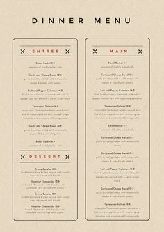 Menu Maker - DIY Menu Templates by Easil - Dinner Menu Template Restaurant Menu Template, Restaurant Menu Design, Restaurant Branding, Restaurant Restaurant, Menu Board Design, Food Menu Design, Cover Design, Design Design, Logo Design