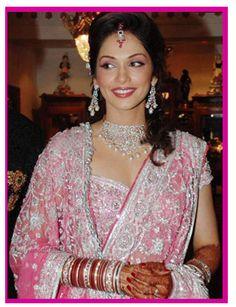 Isha Koppikar in pink & silver at her wedding