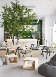 Gelato on Behance Cafe Shop Design, Coffee Shop Interior Design, Restaurant Interior Design, Office Interior Design, Office Interiors, House Design, Commercial Design, Commercial Interiors, Deco Restaurant
