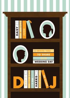 Fun invitation for a book-loving couple or one getting wed in a library.