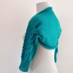 Handknit Green Cable Mohair Shrug Weddings Bolero - Bridal Shrug Teal Emerald Delicate Romantic Chic...