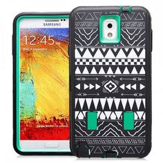 Samsung Galaxy Note 3 Tribal Rubber Hard Full Body Case Cover Green