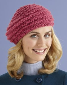Half Moon Hat - an easy knit in the round beret for beginners using chunky yarn.  Pattern free from Lion Brand.