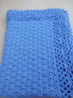 30% off using code easter30. Hand crochet baby blanket or afghan in blue on Etsy, £20.00