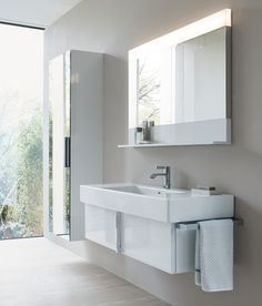 Duravit Vero with High Gloss White Vanity Unit with 1 large drawer (also available with 2 drawer option) and Mirror with Shelf and LED lighting. Plus Tall Cupboard in High Gloss White with double Mirror Door. White Vanity Unit, Vanity Units, Duravit, Bathroom Sink Units, Podium, Wall Mounted Vanity, Shower Panels, Plumbing Fixtures, Modern Bathroom