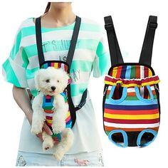 Gato Perro Transportines y Mochilas de Viaje Frente Mochila Mascotas Cestas Rayas Portátil Transpirable Raya Para mascotas 2018 - COL $40029
