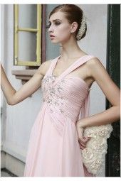 [On sale]tiffany coral pink halter-top Chiffon bridesmaid dress