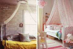 You can mount a single hoop or curtain rod to the ceiling in the middle of your bed and drape fabric from it over the ends of your bed. This works best if the long side of your bed faces a wall, and if the headboard and footboard are roughly the same height. (Left: Apartment Therapy, right: House & Garden via The Inspired Room)