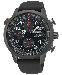 Seiko Men's Solar Chronograph Prospex Black Silicone Strap Watch 44mm SSC371