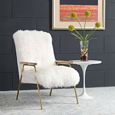 Sprint Armchair, Brown White - Transform your living room decor with the Sprint Arm Chair. Fashioned with luxurious sheepskin, Sprint features dense foam padding finely upholstered in vinyl, gold accented stainless steel legs, non-marking plastic foot glides, and richly detailed solid oak wood armrests. Sprint instantly updates the modern home or apartment with an exquisitely chic and glamorous look. Set Includes: One - Sprint Armchair. Material: 25kg/m3 density foam, Solid wood and plywood…