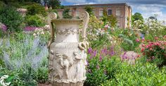 lovely urn at Eighteenth century Killerton House  on a sunny Devon afternoon.