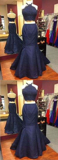 Unique Navy Blue Lace Open Back Two Pieces Long Mermaid Homecoming Dresses Blue Satin, Blue Lace, Navy Blue, Mermaid Evening Gown, Evening Dresses, Cute Dresses, Formal Dresses, Two Piece Dress, Indie Brands