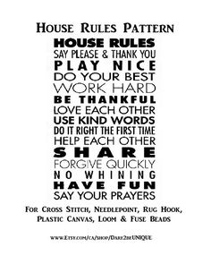 House Rules Cross Stitch PATTERN, Rug Hooking Patterns, Plastic Canvas Needlepoint Tapestry, Crochet & Perler Pattern, DIGITAL Printable Pdf by Dare2beUNIQUE on Etsy Needlepoint Designs, Needlepoint Stitches, Needlepoint Canvases, Cross Stitch Needles, Cross Stitch Patterns, Rug Hooking Patterns, Blanket Patterns, Quilting Patterns, You Better Work