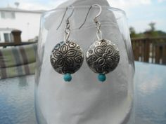 Silver Turquoise Dangling Earrings by BeaderBubbe on Etsy, $8.99  SOLD