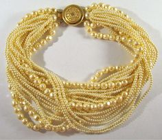 "VINTAGE SIGNED CAROLEE CHUNKY MULTI STRAND FAUX PEARL CHOKER NECKLACE 16"" LONG…"