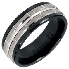 7.0mm Ceramic and Tungsten Brick Wedding Band