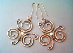 Wire Wrapped Earrings Hammered Copper - Handmade Copper Earrings - Copper Jewelry by GearsFactory on Etsy