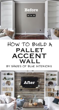 How to Build a Pallet Accent Wall - link to tutorial on eHow with tips on hiding tv wires!