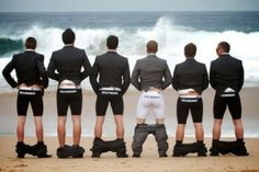 Maybe not so classy, but cute - and even better if this is a group of groomsmen known for their antics!