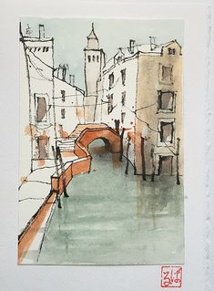 Finished Venice postcard - New Sites Watercolor Drawing, Watercolor Landscape, Watercolor Illustration, Painting & Drawing, Watercolor Paintings, Watercolor Postcard, Abstract Watercolor Art, Watercolors, Architecture Drawing Sketchbooks