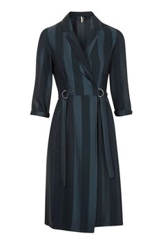 Jacquard Stripe Wrap Midi Dress