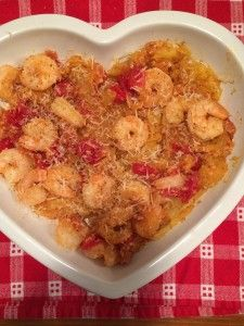 Spaghetti Squash with Garlicky Shrimp and Tomatoes by Coleen Hayden   Healthy but oh-so-yummy…that's this dish! I think that, even if you were 'piggish' and loaded your plate up with a bigger than usual portion of this dish, you would still be around 300 calories!  Enjoy!