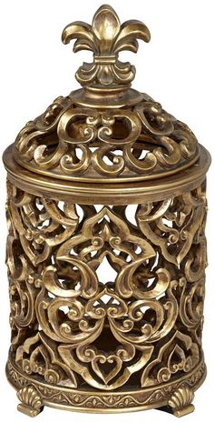 Fleur-de-Lis Tall Antique Gold Box * Click image to review more details. (This is an affiliate link and I receive a commission for the sales)