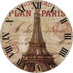 Shop Paris Round Acrylic Wall Clock created by Inspired_Heart. Clock Art, Diy Clock, Music Clock, Clock Face Printable, Printable Art, Tour Eiffel, Vintage Pictures, Vintage Images, Adult Coloring Pages