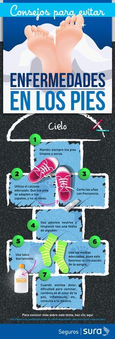 En el siguiente infográfico te damos unos tips para el cuidado de tus pies. Ponlos en práctica.